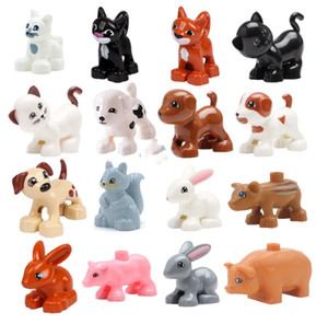 Big Size Building Blocks Cat Dog Pig Rabbit Model Accessories Compatible Duplo Farm Animals Assemble Education Toys For Kid Gift