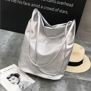 Trendy lychee washed leather PU bucket bag simple fashion shoulder bag large capacity women's shopping bag solid handbag