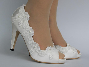 Womens White Lace Satin Pearls Stilettos High Heel Bridal Wedding Low Top Peep Toe Pumps Shoes B137