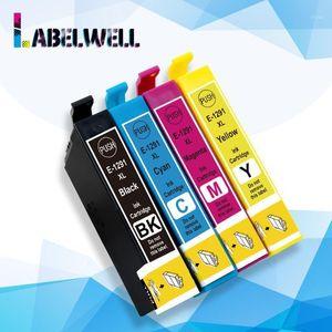 Labelwell 4pcs T1291 T 1291 Ink Cartridge 12XL 12 XL Replace For Stylus SX420W SX425W SX525WD SX230 SX235W T12xl1 Cartridges