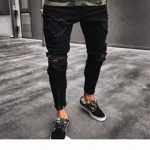 2019 Mens Cool Brand Black Jeans Skinny Ripped Destroyed Stretch Slim Fit Hop Hop Pants With Holes For Men