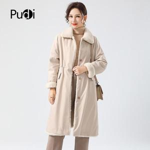 Pudi Mujeres Real Coat Chaqueta 2020 Ins invierno Doble cara Abrigos de piel Parque Trench Z20K03