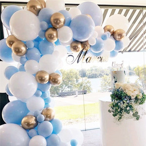 121pcs Macaron Pastel Blue White Gold Chrome Balloon Arch Garland Wedding Birthyday Baby Shower Party Background Decor Globos T200524