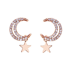 Fashion Stars Moon Pendientes cortos Pierced Girl Heart Pendientes S925 Sterling Silver Pendientes de cristal Joyería de la boda