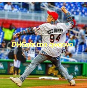 Männer Maimi Bad Bunny Baseball Jersey weiß mit PuertoRicoFlaggeVoll genähtes Hemdgröße S-4XL