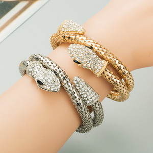 Exquisite Snake Charms Bracelet High Quality Cubic Zirconia Snake Inlaid Rhinestone Bangle Bracelets Exaggerated Punk Jewelry Accessories
