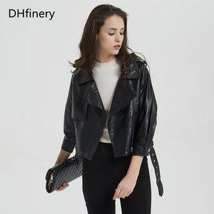 DHFinery Lederjacke Frauen 2020 Frühling und Herbst Kurzabschnitt Slim Motorradjacke P-1892