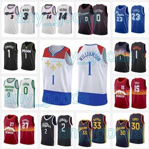 Nova OrleansPelicanos.Jersey Zion 1 Williamson Edwards LeBron 23 James Los AngelesLakers.2020 2021 novas camisas de basquete