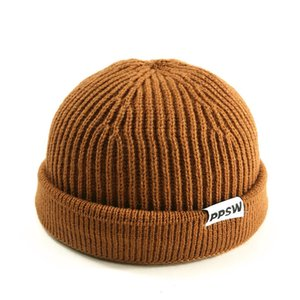 Knitted Hats for Men Skullcap Beanie Hat Winter Retro Brimless Baggy Melon Cap Cuff Docker Fisherman Beanies Hats For Men