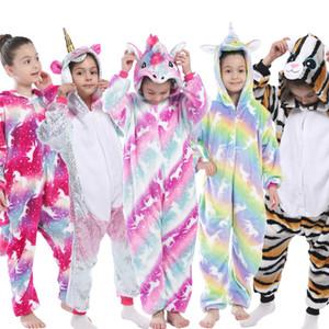 Bambini Kigurumi Unicorno Pigiama Bambini Baby Animal Tuta Tute Tuta Onesie Panda Pigiama Pigiana Sleepwear Girls Cosplay Pajama Pijamas Q1215