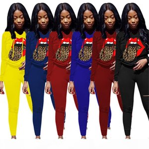 Plus size Women Outfits ripped Sweatsuit casual 2 piece set long sleeve hoodies+leggings casual outfits fall winter clothing sportswear 3625