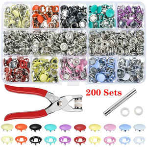 100 200 Set 10 Color Metal Sewing Buttons Hollow Solid Prong Press Studs Snap Fasteners + Clip Pliers Sewing Tool DIY Clothes