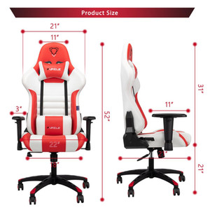 Gaming Chair Racing Style High-Back Office Chair w 3D Adjustable Armrests PU Leather Executive Ergonomic Swivel Game Chairs