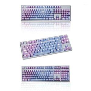 لوحات المفاتيح 1 مجموعة استبدال pbt keycaps 87 104 108 شفافة حروف مفاتيح مزدوجة حقن backli مفتاح غطاء لوحة المفاتيح الميكانيكية 1