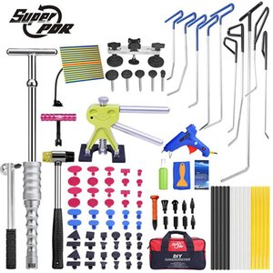 Professional Hand Tool Sets PDR Hook Tools Push Rods Dent Removal Paintless Repair Lifter Puller Glue Gun Hammer Car Body Kit