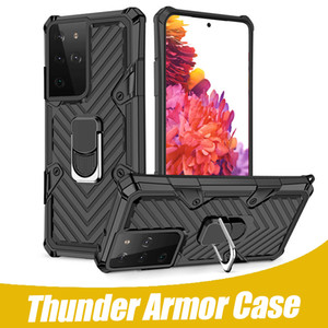 For iPhone 12 Pro 11 Pro Max Thunder Armor Stand Phone Holder Case For Samsung S21 Note 20 A71 LG Stylo 6 Ring Case Back Cover with OPP Bag