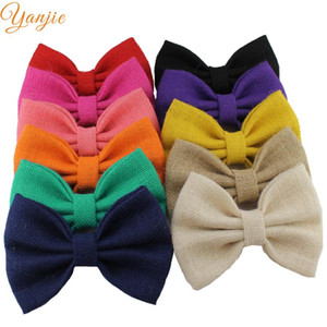 11pcs lot 7'' Big Knot Linen Bows For Girls And Kids 2020 DIY Solid Hair Bows Headband Headwear Hair Accessories