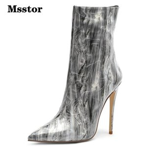 Msstor Mixed Colors Booties Woman Sexy Fashion Thin Heel Party Women Winter Shoes Pointed Toe Women Boots High Heels Elegant