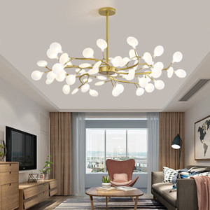 Nordic Living Room Chandelier Modern Simple led Chandelier Lighting Personality Bet Red Restaurant Lighting Creative Bedroom Pendant Lamps