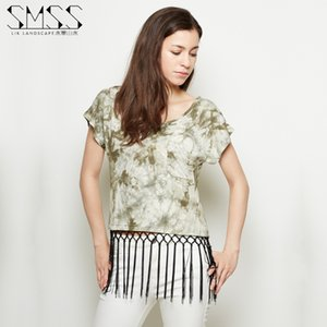 Cowgirl Rodeo Westwear Ink Landscape New Loose T-shirt Womens Short Dolman Sleeve Student Tassel Top Short Sleeve Summer Slimming