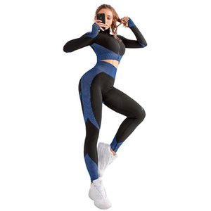 Cross border popular fitness clothes women's quick dry exercise suit sexy long sleeve tight seamless elastic Yoga suit two piece set