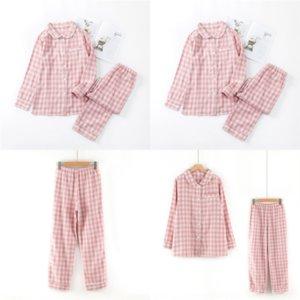 139 Tree MUJI-style Christmas Grid Xams Parent-child Home Pajamas Sets Matching Long Sleeve Tops Plaid plaid pajamas Pantssuit Adults Kids P