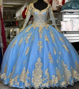 Sky Blue Sweet 16 Quinceanera Dresses Long Sleeves Beaded gold Lace Appliqued Corset prom Ball Gown Vestido De 15 Anos Sky Blue Sweet 16