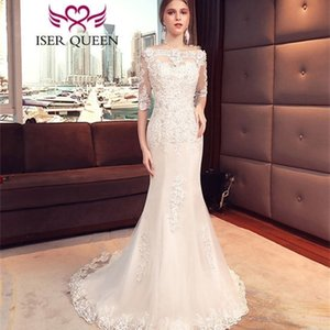 See Through Half Sleeves Elegant Mermaid Wedding Pure White Ivory Color Lace Appiquines Women Bride Dress WX0058 Q1110