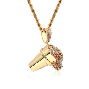 Hiphop Jewelry Gold Spill Beverage Cream Pendant With Cubic Zirzonia Stone Necklace Styrofoam Cup Collier Unisex