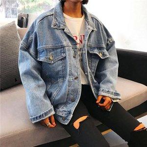Autumn Winter Demin Clothes Women Boyfriend Style Jeans Coat Retro Oversize Cowboy Denim Loose Casual Jacket Outwear Pocket