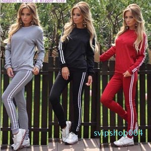 4 Color 2020 New Womens Printed Casual Sweatsuit Pullover Round Neck Sweater Pants Two-piece Set S-XL