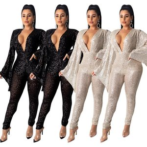 Sexy Deep Vneck Womens Rompers Soild Color with Sequins Womens Long Sleeve Casual Wide Sleeves Jumpsuits