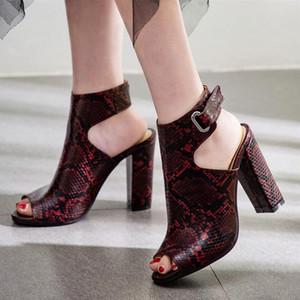Women Genuine Leather Summer Boots Snakeskin Women Summer Boots Open Toe Hoof Block High Heels Cross Tied Side Sandal Shoes