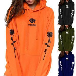 2021 Womens Hoodies new orange sweatshirt rose hoodie plus plus size hoodie womens kangaroo pocket oversized thick