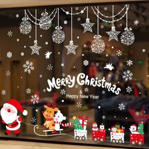 [SHIJUEHEZI] Christmas Glass Sticker DIY Santa Claus Wall Decals for Living Room Home Window Festival Decoration Accessories
