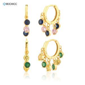 Kikichicc 925 Sterling Silver Gold Pink Blue Hoop Green Yellow Piercing Huggies Zircon Charm Luxury Fashion Fine Jewelry 2020 B1205