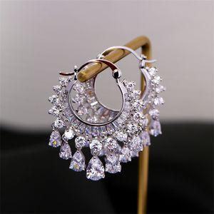 Women Zircon Earrings Circle Long Tassel Earrings Jewelry Set Fashion Designer Silver Cubic Zirconia Dropping Earrings Party Prom Jewelry