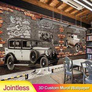 Jointless Personalized Customization Retro Wecker Brick Wallpaper Restaurant Cafe Creative Decor 3D Embossed Mural Wallpaper