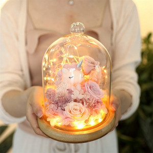 Unicorn Preserved Flower Rose Valentines Day Gift Exclusive Rose In Glass Dome With Lights Eternal Real Rose Mother's Day Gift Y1128
