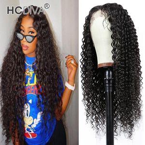 Бразильские волосы kinky вьющиеся человеческие волосы 13x1 кружевные фронтские парики с детскими волосами Prevuced Remy Virgin 150% плотность 10-30 дюймов Дешевые оптом