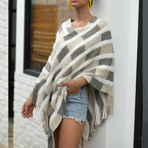 Outono inverno listrado capa xaile pulôver de malha suéteres mulheres franjas capa de xaile pele franjas capa suéteres