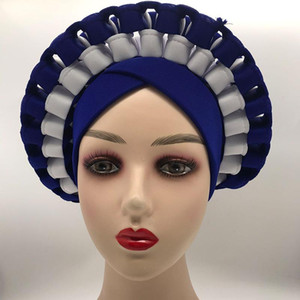2021 Latest Designs African Accessories Auto Gele Aso Oke Headtie Nigerian Wedding Gele Ready to Wear Turban Head Wraps
