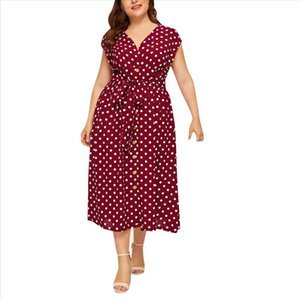 2019 New Summer Women Dress Casual Plus Size V neck Sleeveless Polka Dot Printed Button Belt Dress robe femme 19jun24