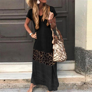 H40 Leopard Patchwork Summer Long Dress Women Casual Loose V Neck Short Sleeve Long Maxi Dress Bohemian Vintage Party
