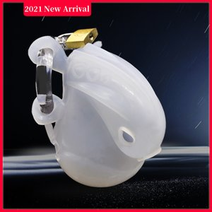 Latest Male Fully Restraint Chastity Device Silicone Cock Cage With Adjustable Cuff Penis Ring Anti-off Belt Bondage Lock Adult Sex Toy A500