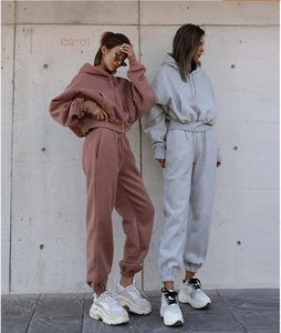 Fleece Tracksuit for Women Joggers Sweatpant 2 Two Piece Sets Crop Top Hoodies Sweat Pants Matching Set Clothing Outfits Suit Y201128