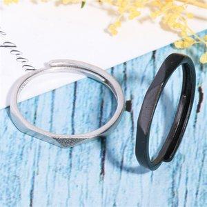 2019 Nuevos anillos de pareja delgadas clásicos simples simples Rhombic Rhombic Rhombic Negro Anillo para los amantes Promesa ajustable GMNR253