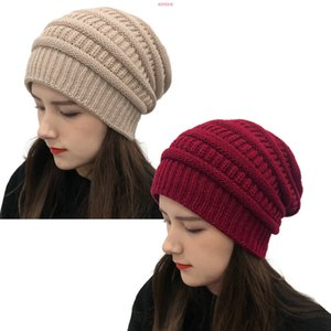 2020 Europe America autumn winter hat wool knitted five-bar striped outdoor warm hood