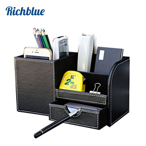 Multi-Functional Desk Stationery Organizer Storage Boxes & Bin Wooden PU Leather Pen Holder Pencil Box Case Containers + Drawer Y1116