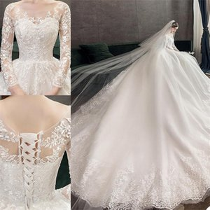 Gorgeous A Line Wedding Dresses Long Sleeves Appliqued Lace Modern Design Bridal Gowns Boho Lace Up Court Train Marriage Robe De Mariee